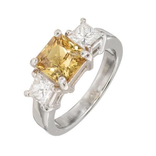 Peter Suchy 2.32 Carat Yellow Natural Sapphire Diamond Platinum Engagement Ring