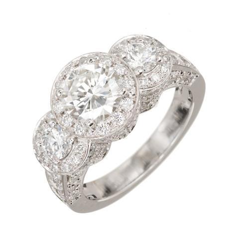 Peter Suchy 4.03 Carat Diamond Platinum Three-Stone Halo Engagement Ring
