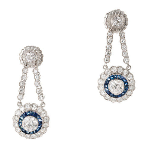 1.75 Carat Diamond Sapphire Platinum  Dangle Earrings