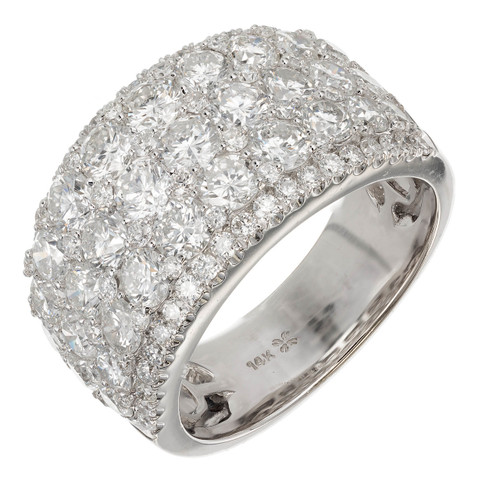 3.90ct Diamond Five Row Wedding Band 14k White Gold Ring
