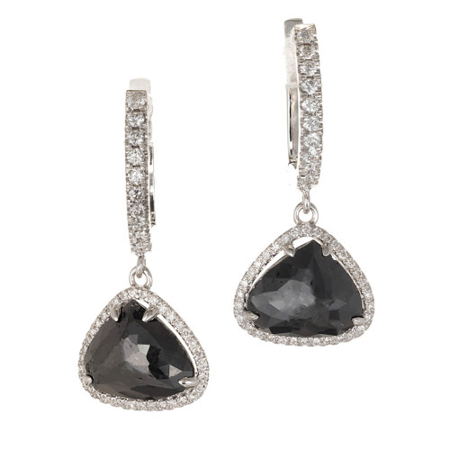 Peter Suchy 3.89 Carat Black Diamond White Gold Dangle Halo Earrings