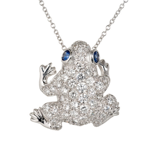1.50 Carat Diamond Sapphire White Gold Pavé Frog Pin Pendant Necklace