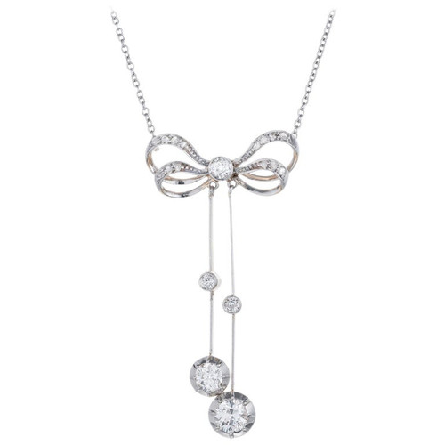 1.00 Carat Diamond Platinum Yellow Gold Victorian Bow Pendant Necklace