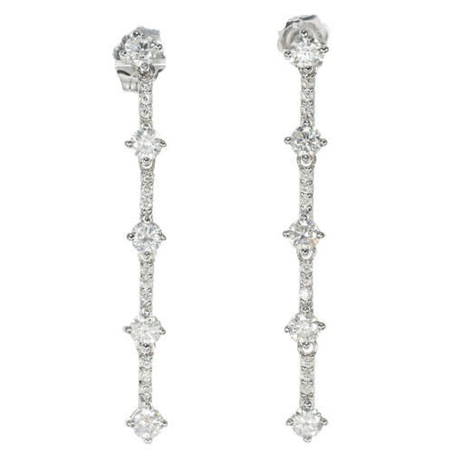 1.00 Carat Diamond White Gold Star Dangle Drop Earrings