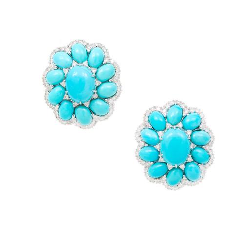 Vintage  Robins Egg Blue Turquoise 1.00ct Diamond 18k White Gold Earrings<br><br>