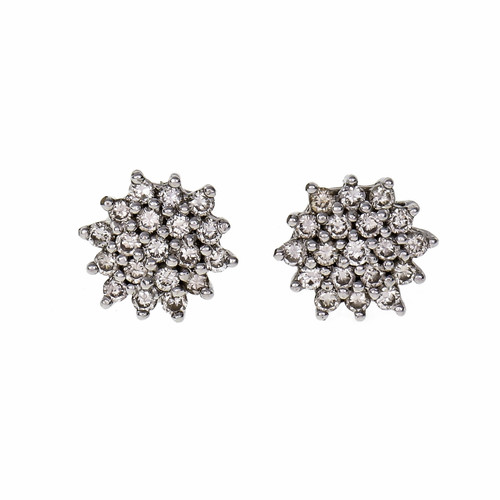 .40 Carat Diamond Platinum Cluster Earrings