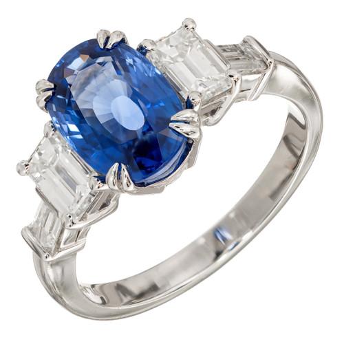 Vintage 3.44ct Natural Sri Lanka Cornflower Blue Sapphire Platinum Ring