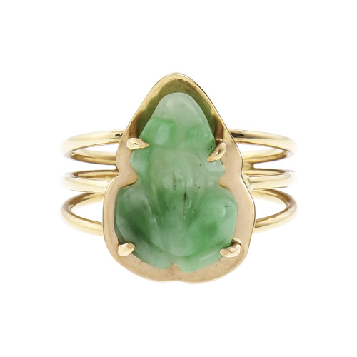 GIA Certified Jade Yellow Gold Carved Frog Ring