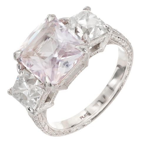 Peter Suchy GIA 4.66 Carat Pink Sapphire Diamond Engagement Ring