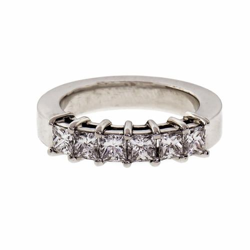 Princess Cut 6 Diamond Wedding Band Ring 1.32ct Platinum