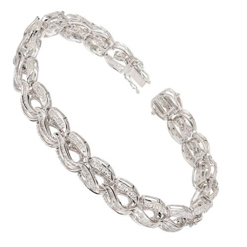 Swirl Link Round & Baguette Diamond Bracelet 14k White Gold