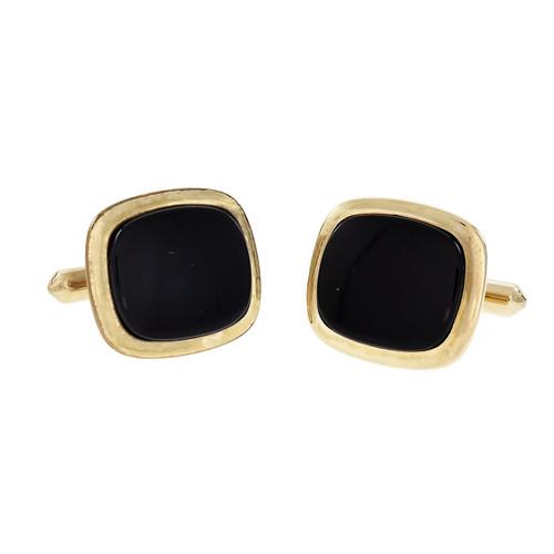 Dolan & Bullock Black Onyx Cufflinks 14k Gold Cushion