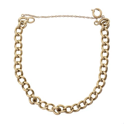 Vintage 1920 Solid Oval Link Bracelet 14k Yellow Gold