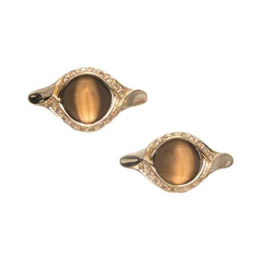 Versace Tiger Eye Cufflinks 18k Gold Diamond