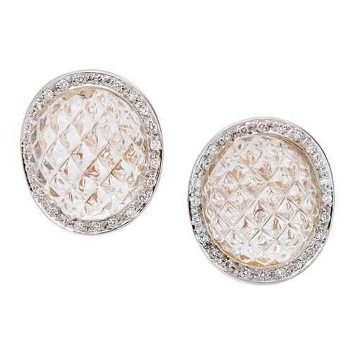 Italian 18k Quartz Crystal Diamond Earrings