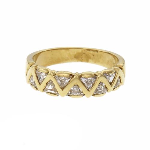 Triangle Diamond Wedding Band 18k Yellow Gold Ring