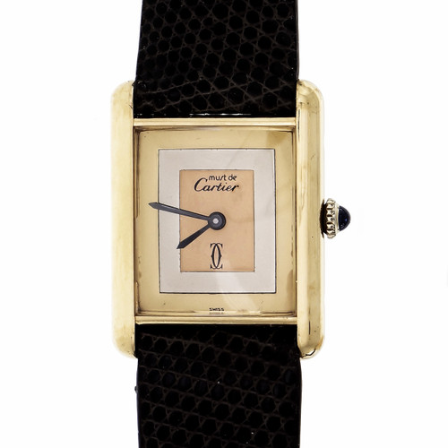 Must De Cartier Wrist Watch Manual Wind Gold Plate On Silver Tri-Color Dial