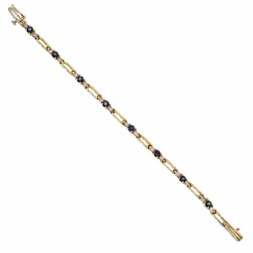 Bright Blue Sapphire Diamond Bracelet 14k Yellow Gold