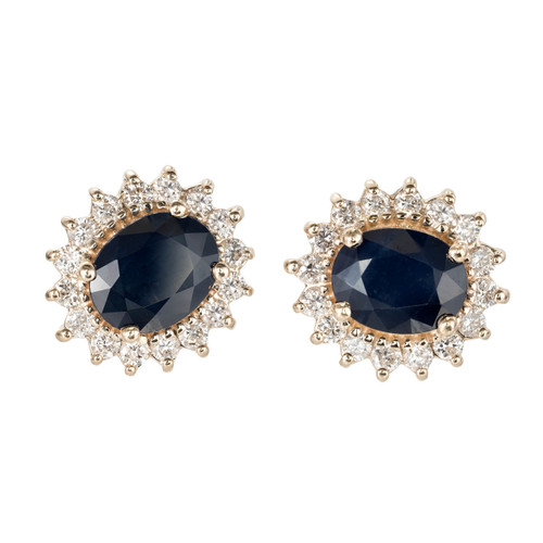 4.50 Carat Blue Sapphire Diamond Yellow Gold Halo Earrings