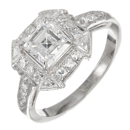 Peter Suchy 1.21 Carat Asscher Cut Diamond Engagement Ring French Cut Platinum