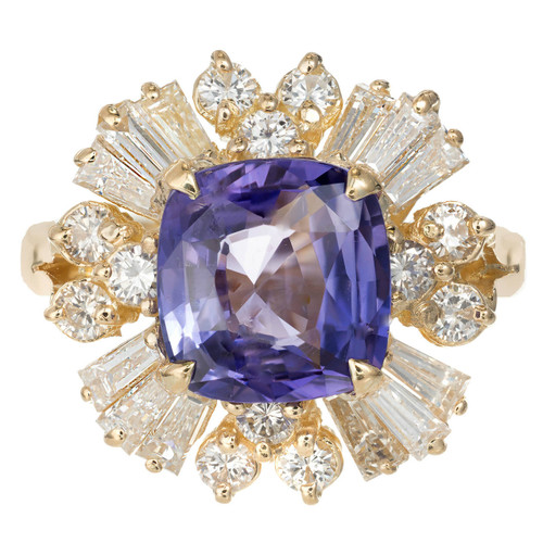 Natural Color Change Violet Purple Sapphire Ring 18k Yellow Gold Diamond