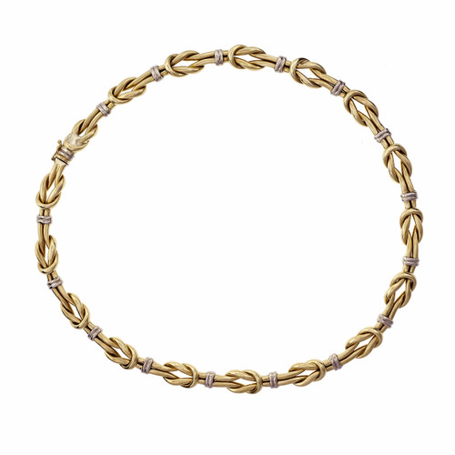Vintage 1960 Italian Knot Link Necklace 18k White & Yellow Gold