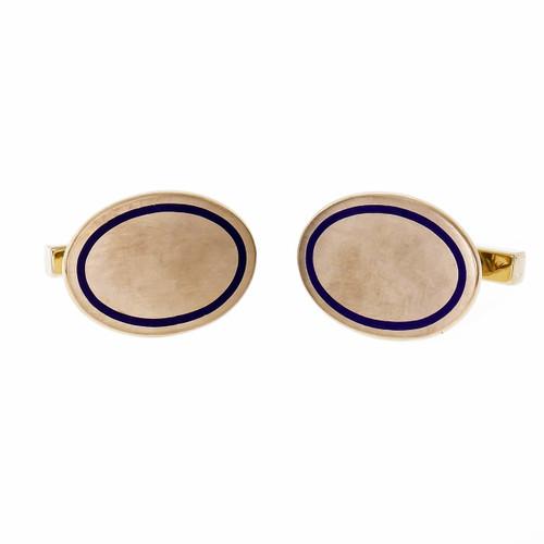 Tiffany & Co Blue Enamel Yellow Gold Oval Cufflinks Circa 1920s