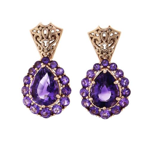 Bright Purple Amethyst Earrings 14k Pink Gold