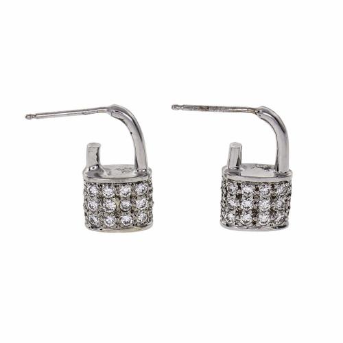 Vintage 1960 Pad Lock Diamond Pavé Earrings 14k White Gold