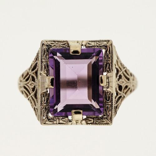Antique Art Deco 2.75ct Emerald Cut Amethyst 14k White Gold Filigree Ring