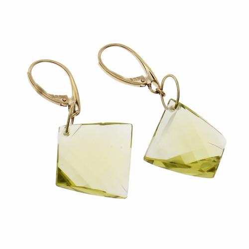 Peter Suchy Fancy Checkerboard Cut Lemon Quartz Earrings 14k Gold Dangle