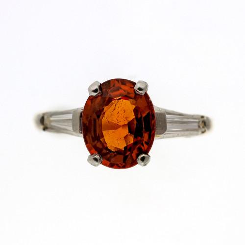 Vintage 1950 1.50ct Spessartite Orange Garnet 14k Diamond Ring