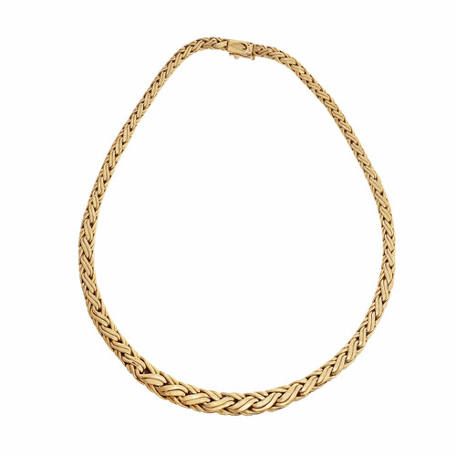 1980 Tiffany & Co Woven Graduated Link Necklace 18k Yellow Gold