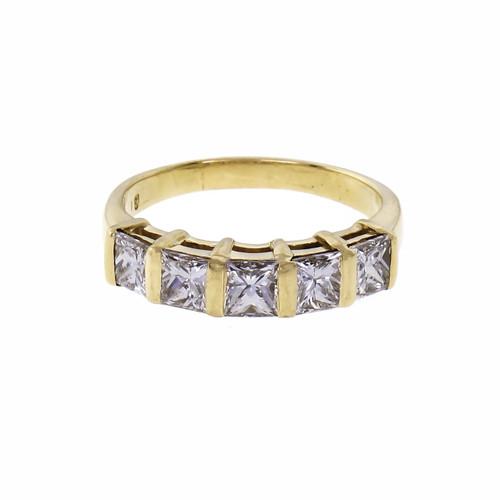 Princess Cut Fine Stone Diamond Wedding Ring 18k Yellow Gold