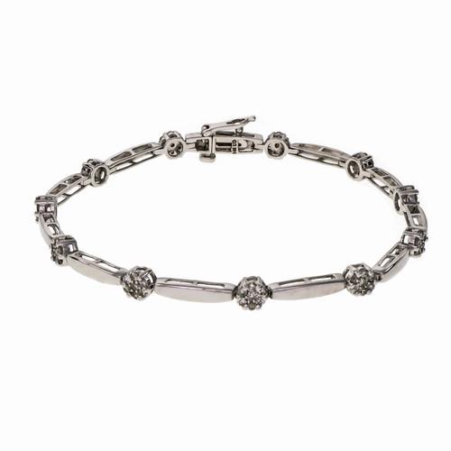 Diamond Bracelet 14k White Gold 1.00ct Round Cluster