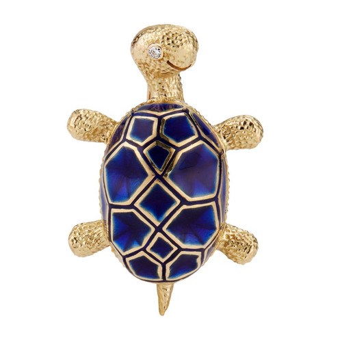 .3 Carat Diamond Blue Enamel Yellow Gold Turtle Brooch