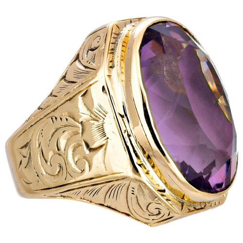 10.00 Carat Yellow Gold Amethyst Victorian Cocktail Ring