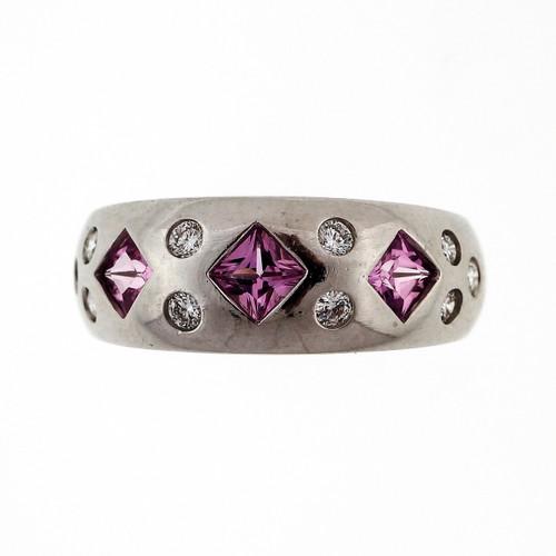 Estate Princess Cut .50ct Pink Sapphire Diamond 14k White Gold Ring