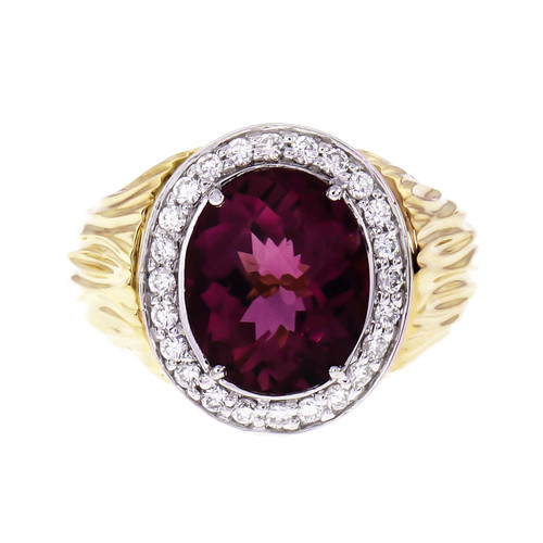 Oval Faceted Pink Tourmaline Ring 18k Yellow Gold Diamond