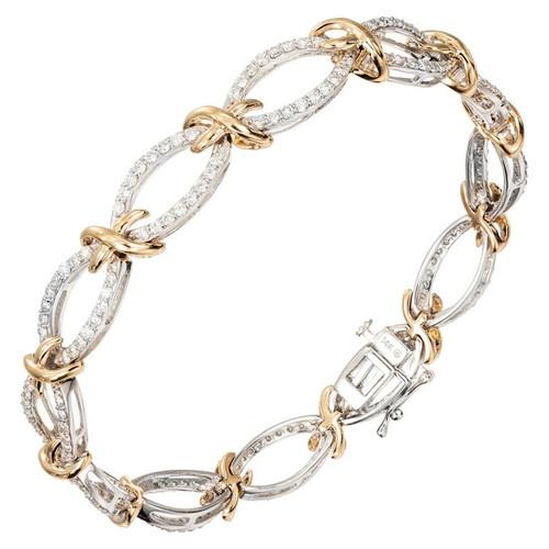 """2.00 Carat Diamond """"XO"""" Style White Yellow Gold Bracelet"""