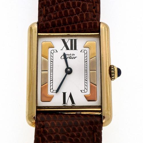 Must De Cartier Tank Watch Vermeil Quartz White Tri Color Dial Larger Size