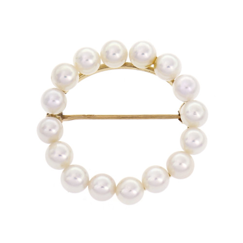 Open Circle Pin Japanese Cultured Pearls 14k Yellow Gold