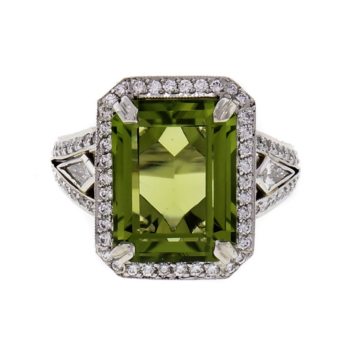 Michael Beaudry 6.82 Carat Peridot Diamond Halo Platinum Cocktail Ring