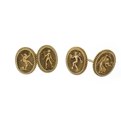 Vintage 1930 Etruscan Revival Engraved Cufflinks Double