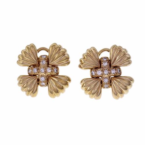 Taubes Clip Post Diamond Earrings Cross Center 14k Yellow Gold