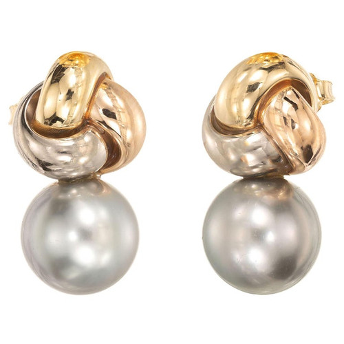 Black South Sea Cultured Pearl Tri-Color Gold Knot Earrings