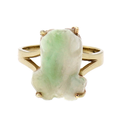 GIA Certified Natural Jade Carved Frog Yellow Gold Ring
