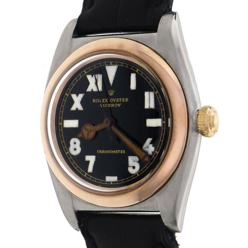 Rolex Rose Gold Steel Bubble-back Chronometer California Dial Wristwatch Ref 3133