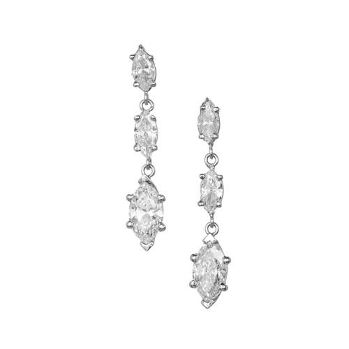 Peter Suchy Marquise Triple Diamond Platinum Dangle Earrings