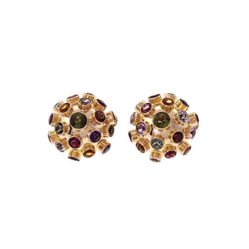 Sputnik Domed Earrings Multi-Color Natural Stones 14k Rose Gold